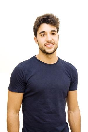 Beau mec avec la barbe sur fond blanc