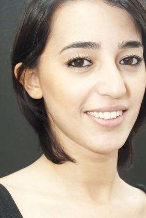 Beautiful Girl over black background Banco de Imagens