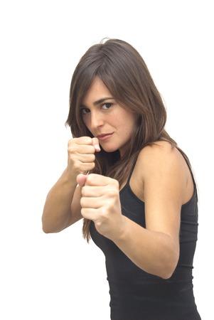 Beautiful boxing woman on white background photo
