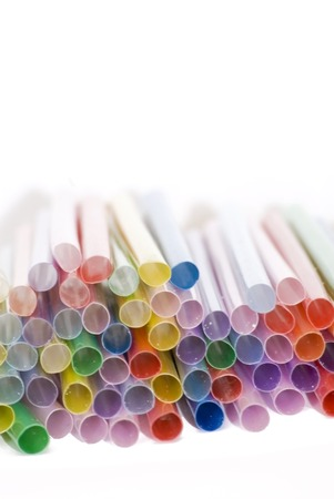 Large group of straws in many different colors photo