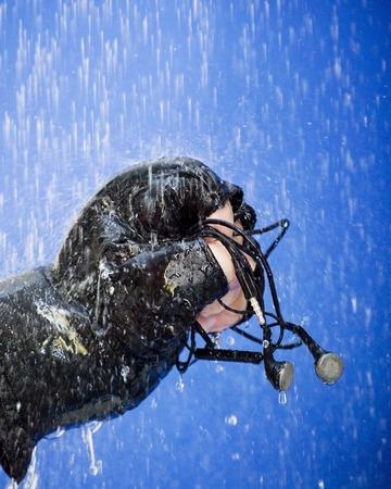 Punho com luvas segurando fones de ouvido para que a chuva cai como chuva no fundo azul Banco de Imagens
