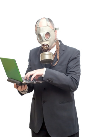 catastrophe: Businessman with gas mask over white vignetting Stock Photo