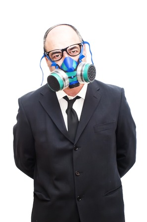 mania: Businessman with gas mask over white