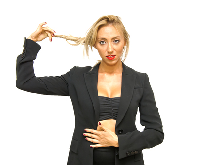 sexy businesswoman: Young beautiful and sexy businesswoman. Isolated over white background