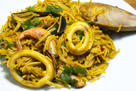 Fideua noodles with seafood, Mediterranean cuisine Stock Photo