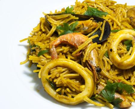 Fideua noodles with seafood, Mediterranean cuisine Banco de Imagens