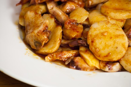 galician: Octopus with paprika on a white plate, also known as Galician octopus, typical plate of Spain Stock Photo
