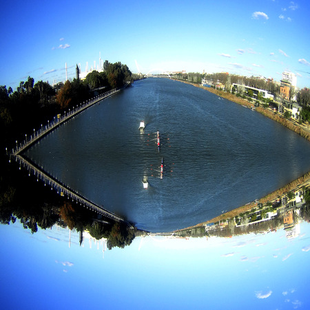 fantastic view: Fantastic view of the river Guadalquivir shaped mirror. The capital Seville. Andalusia. Spain.
