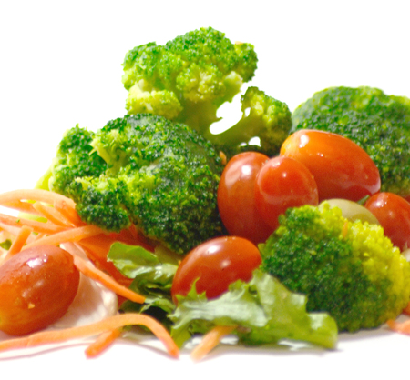 Group of healthy vegetables for salad on white background