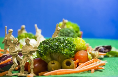 Nutritional war. The army of vegetables against the army of the meat. With plastic soldiers as if they were in a war where food is the barricades. Representing the fighting between healthy food and diets against fattening food.