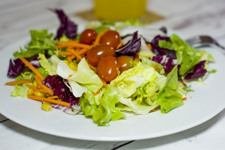 Healthy food on a white wooden table Stock Photo
