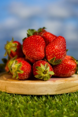 Red strawberries in a wooden plate on green grass with blue sky background