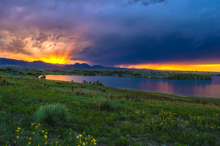 Sunset in Boulder, Colorado 스톡 콘텐츠