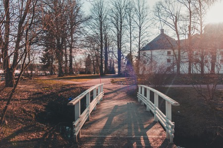 Finland Turku, small bridge over the ditch at Castle of Turku on a spring evening