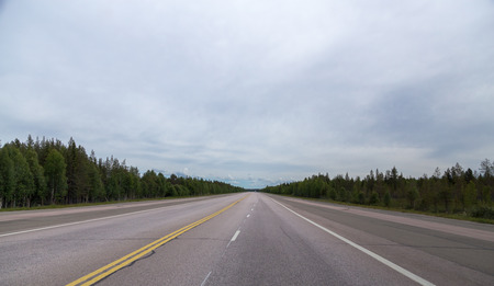 Lapland Finland, wide road that is a emergency landing place for airplanes on a summer day Stock Photo