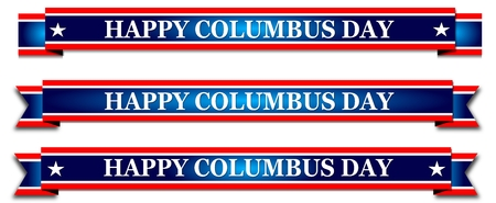 Happy Columbus Day banner illustration on white background