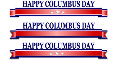 Happy Columbus Day banner illustration on white background Stock Illustration - 65568820