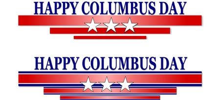 Happy Columbus Day banner illustration on white background Stock Illustration - 65568821