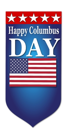 Happy Columbus Day flag illustration on white background