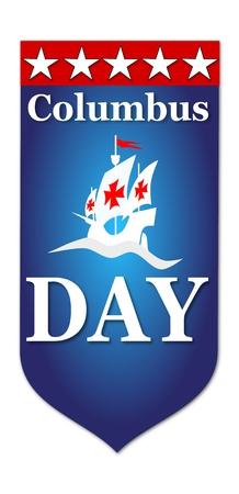 Happy Columbus Day flag illustration on white background Stock Illustration - 65568824
