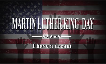 jr: Martin Luther King Day American flag  and hands illustration
