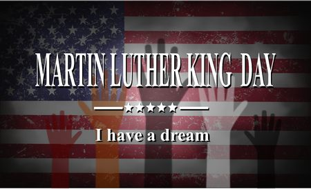 Martin Luther King Day American flags and colorful hands illustration Stock Illustration - 71037207