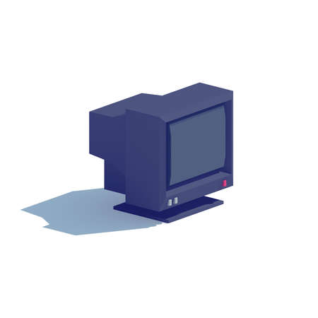 crt: Low poly black CRT computer monitor on isolated white background