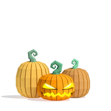 haunt: Low-poly Halloween Jack O Lanterns with one carved pumpkin and two uncarved pumpkins on isolated white background Stock Photo