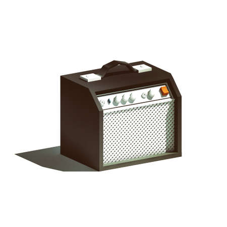 Low poly guitar amplifier isolated on white background Stock Photo