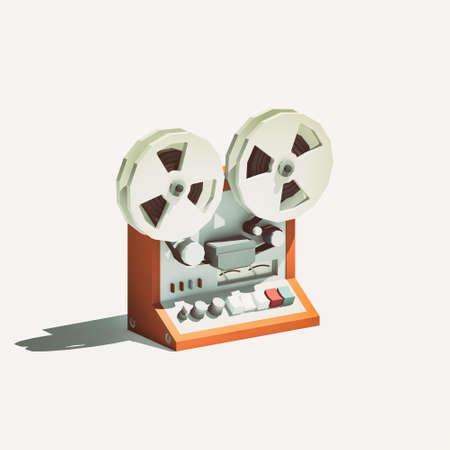 grabadora: poli baja registrador de cinta de carrete a carrete aislado en el fondo blanco Foto de archivo