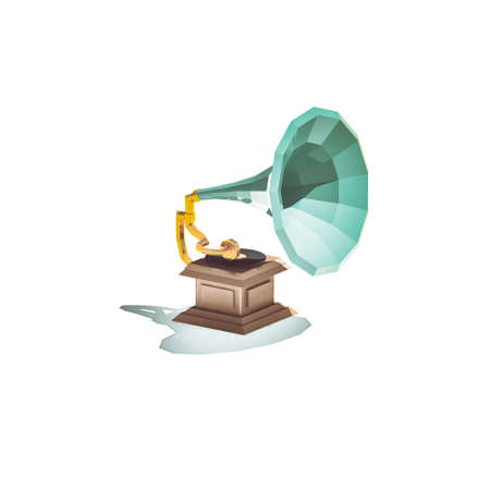 Low poly vintage phonograph isolated on white background Stock Photo