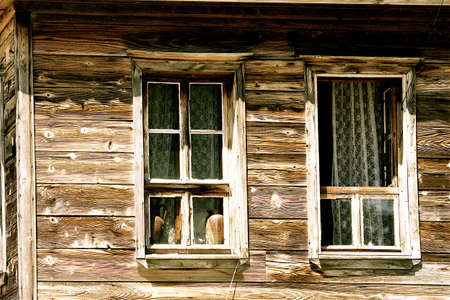 Two nice windows of a rural wooden house could perfect illustrate life in a country