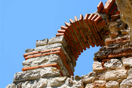 repetitious: Brickworked part of ancient church of Bulgaria