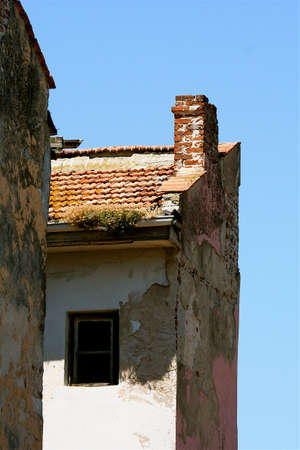 repetitious: demolished house on the blue sky backstage Stock Photo