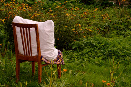 The chair staying in the garden Stock Photo