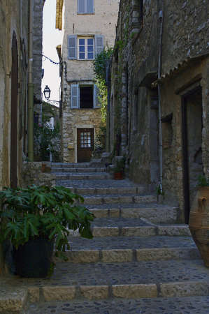 Medieval street in the little town of France Stock Photo