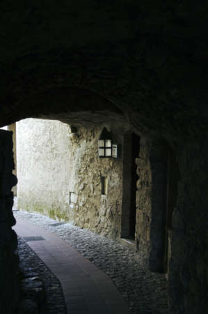 Little tunnel in the narrow street of medieval town Stock Photo - 1988925