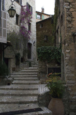 Narrow street of medieval town in France