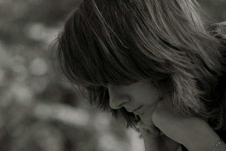 Sad girl dreaming on and reflecting Stock Photo