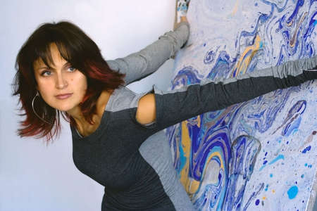 Modern artist staying with her work