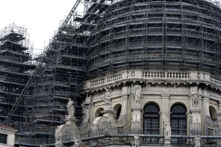 Dome of old venetian church under reconstruction