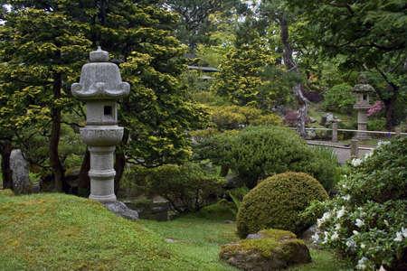 Different sculptures in a nice japanese garden