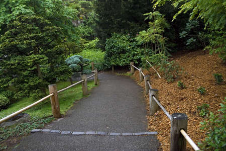 Road with a wooden fence in a tranquil garden Stock Photo