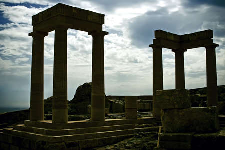Ancient columns in Greece on the sky background