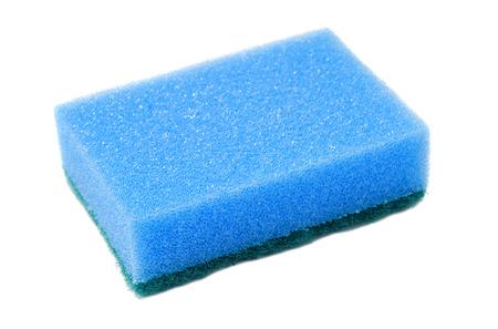 washup: blue sponge for dish washing on white background