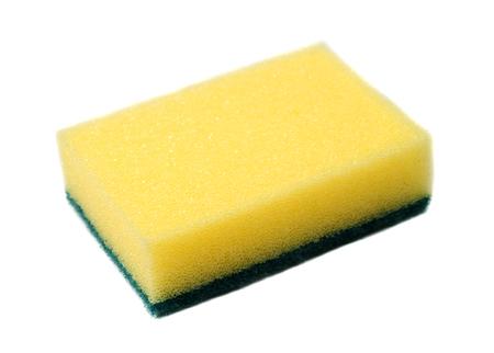 washup: spugna gialla per lavaggio delle stoviglie su sfondo bianco