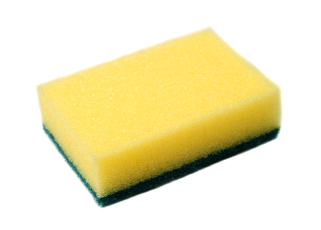 washup: yellow sponge for dish washing on white background Stock Photo