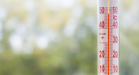 Outdoor thermometer misuring 50 degrees heat with out of focus plants background and space for text Zdjęcie Seryjne
