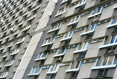 subdivision: Block of small flats from 50s in center of Warsaw, Poland