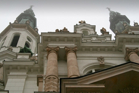 holiest: Monumental church of the Holiest Saviour in Warsaw, Poland, seen from street level